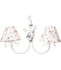 lustre 2l primavera cristais 2 flores g beb㪠infantil menina potinho de mel branco - rosa - menina - dafiti