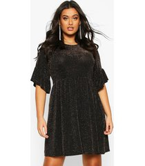 plus glitter shimmer smock dress, gold