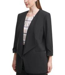 calvin klein plus size 3/4-sleeve open-front jacket