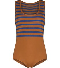 missing you already striped bodysuit - brown