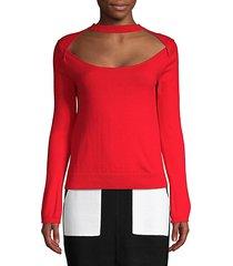 long sleeve cutout knit top