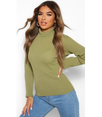 petite rib knit roll neck sweater, pale green