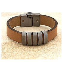 men's leather wristband bracelet, 'city cowboy' (brazil)