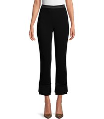 cinq à sept women's fringed bootcut pants - black - size 4