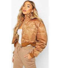 cropped double pocket puffer jacket, mocha