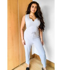 plus ribbed v neck tie waist jumpsuit, grey marl