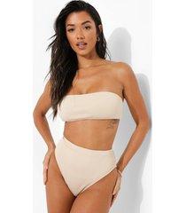 geribbelde strapless bikini top, sand
