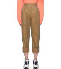 belted roll up hem crop pants