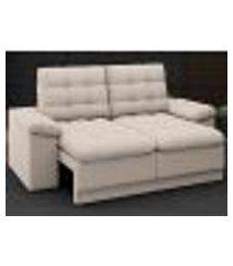 sofá confort 1,80m assento retrátil e reclinável velosuede areia - netsofas