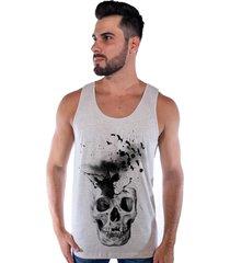 regata corvuz skull creme mescla - bege - masculino - algodã£o - dafiti