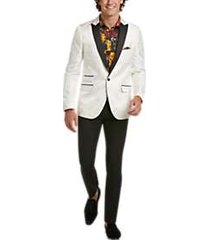 paisley & gray slim fit tuxedo sport coat cream white damask
