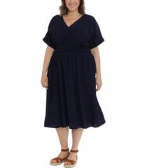 london times plus size v-neck rolled-sleeve elastic-waist midi dress