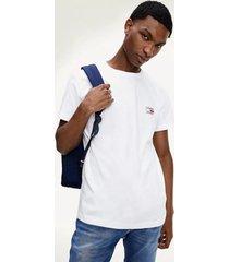polera de algodón orgánico con logo blanco tommy jeans