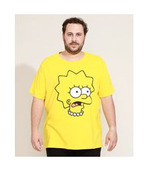camiseta masculina plus size lisa simpson manga curta gola careca amarela