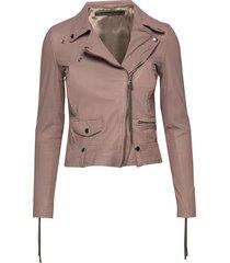 seattle new thin leather jacket läderjacka skinnjacka beige mdk / munderingskompagniet