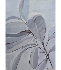 obraz 50 x 70 srebrny fikus - płótno, akryl