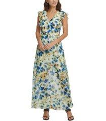 dkny ruffled floral-print maxi dress