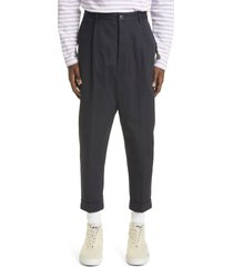 ami alexandre mattiussi oversize carrot fit organic cotton trousers, size medium in navy at nordstrom