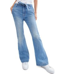 jen7 tailorless belted bootcut jeans