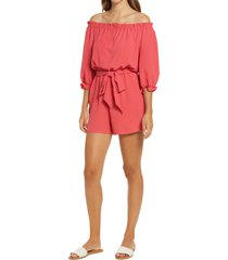 petite women's gibsonlook off the shoulder blouson belted romper, size x-small - pink