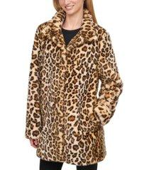 calvin klein petite leopard faux-fur coat