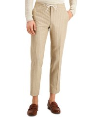 bar iii men's slim-fit tan pinstripe drawstring dress pants, created for macy's