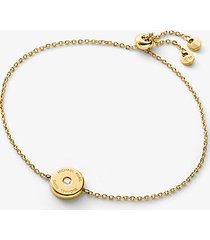 mk braccialetto in argento sterling placcato oro 14k con diamante sintetico e logo - oro (oro) - michael kors
