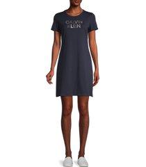 calvin klein women's graphic t-shirt dress - hibiscus - size l