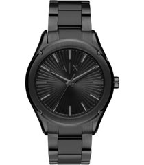 ax armani exchange men's fitz black stainless steel bracelet watch 44mm