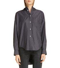 women's balenciaga tie back pinstripe shirt