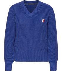 chunky cotton mix pull in bright color gebreide trui blauw scotch & soda