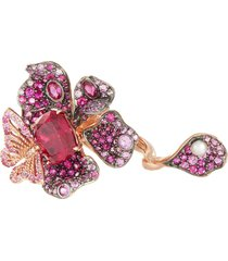 ruby peony butterfly' gemstone 18k rose gold rhodium vermeil ring