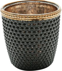 cachepot de vidro e zamac bristol preto e dourado 9x9cm lyor - preto/dourado - dafiti