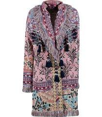 etro fringed edge detail coat