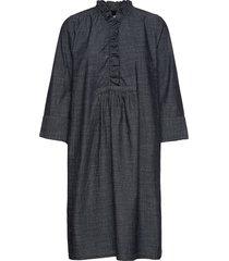 dress long sleeve knälång klänning blå noa noa