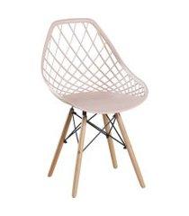 cadeira de jantar cloe base de madeira bege