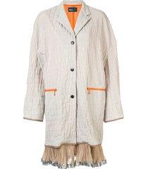 kolor croc-embossed cocoon coat - white