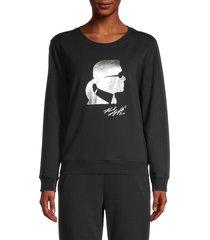 karl lagerfeld paris women's metallic graphic sweatshirt - black silver - size xs