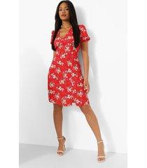 bloemenprint mini skater jurk met pofmouwen, red