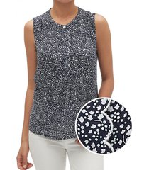 blusa sin mangas floreada azul gap