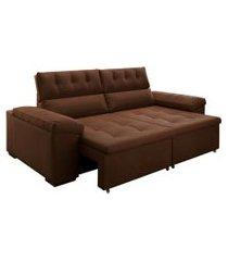 sofá 3 lugares retrátil e reclinável penedo veludo marrom 220 cm