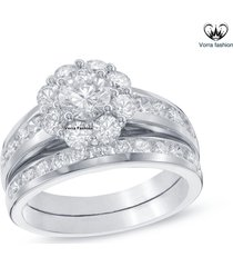 10k white gold over pure 925 sterling silver women's bridal engagement ring set