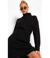 grof gebreide trui jurk met col, black
