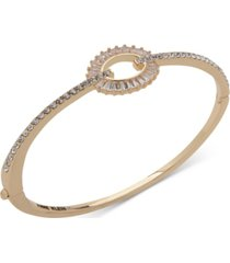 anne klein gold-tone baguette crystal hinge bracelet