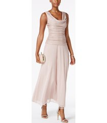 r & m richards draped & ruched shimmer gown