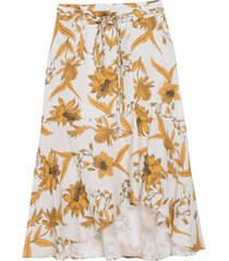 saia dudalina cintura alta midi linho estampa floral feminina (vermelho medio estampa floral, 48)
