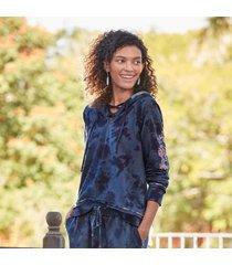 sundance catalog women's moonlight sky sweatshirt in indgtiedye 2xl