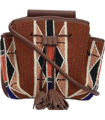 ash bessy 03 shoulder bag in brown leather and fabric