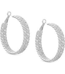 """guess medium pave chain-link hoop earrings, 1.75"""""""