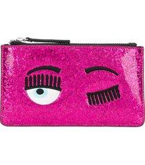 chiara ferragni eyelash embroidered purse - pink